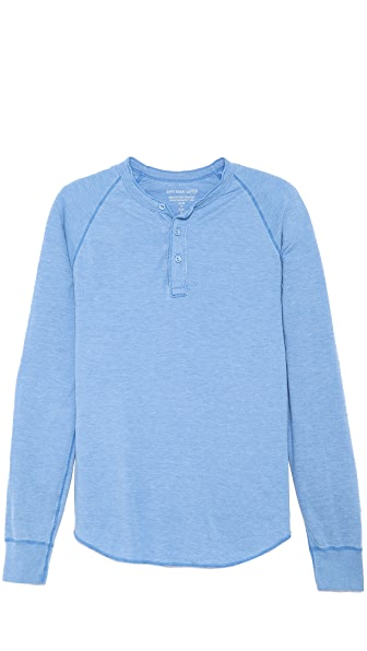 Save Khaki Long Sleeve Pointelle Henley