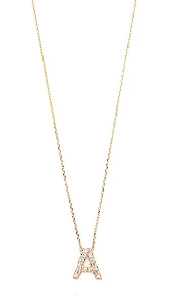 Sarah Chloe Diamond Letter Gold Necklace