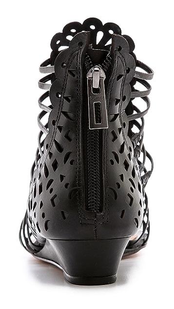 Schutz Freida Laser Cut Low Wedge Sandals