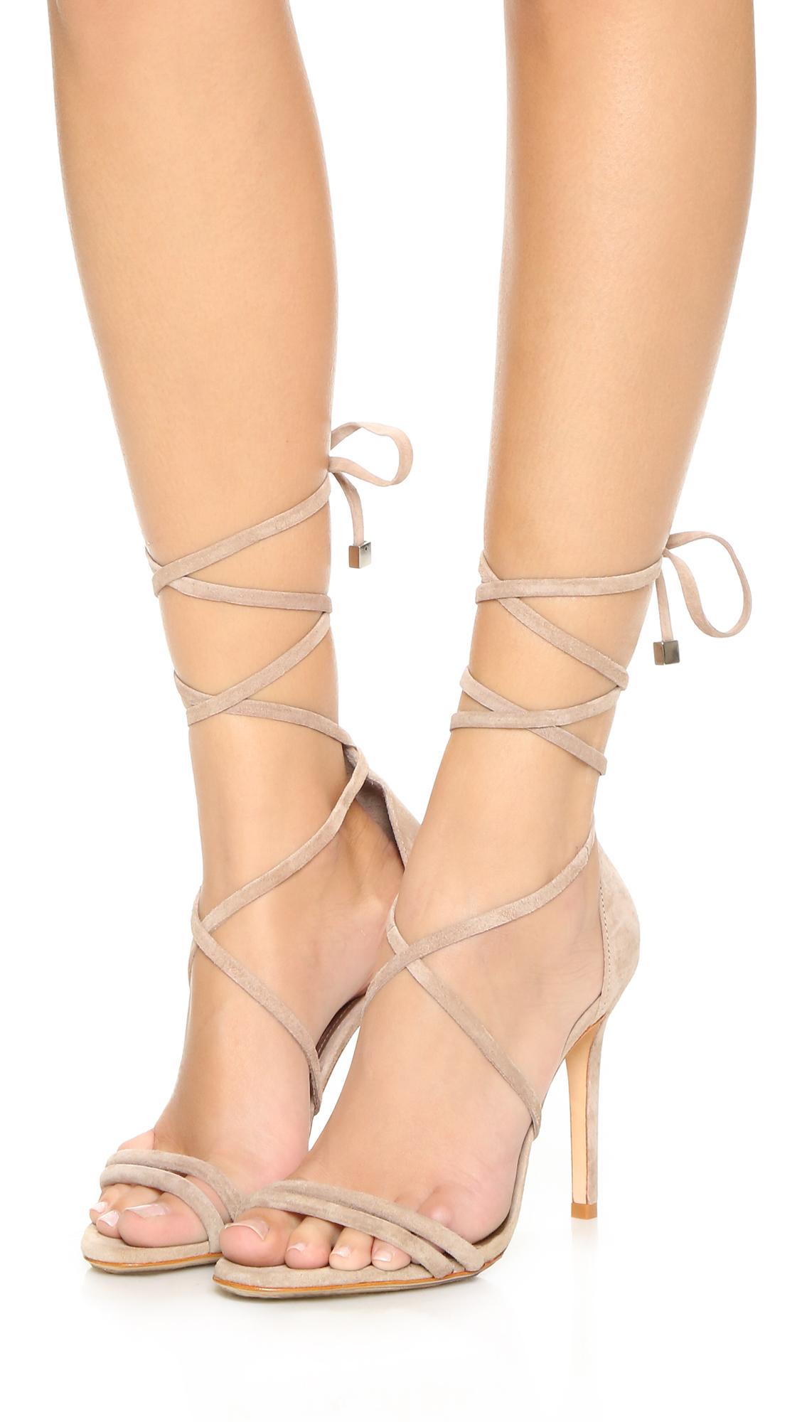 940898e379a7a9 Schutz Lola Suede Ankle Wrap Sandals