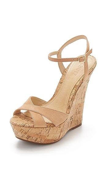 Schutz Emiliana Wedge Sandals - Light Wood