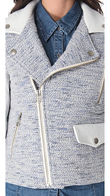 Sea Leather & Tweed Moto Jacket