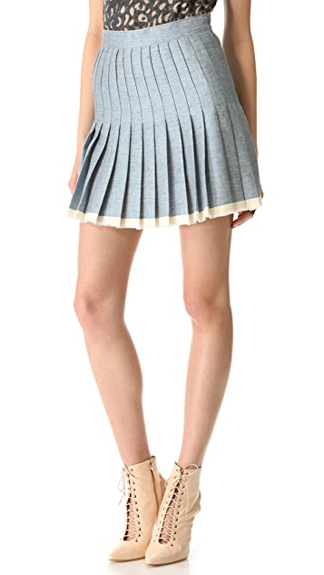 Sea Pleated Raw Finish Denim Skirt