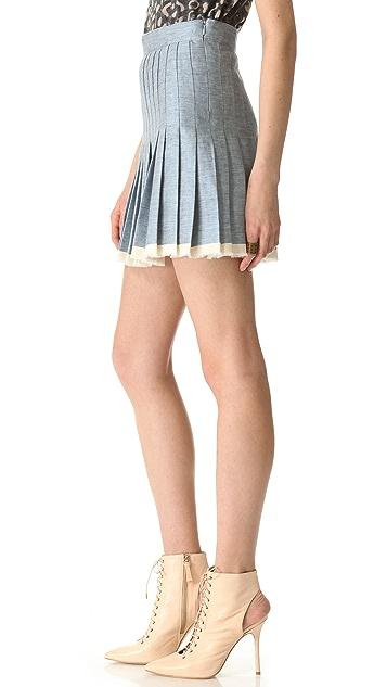 Sea Pleated Raw Finish Denim Skirt