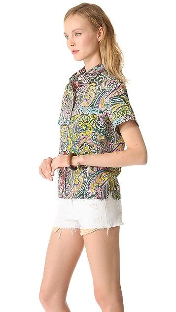 Sea Paisley Short Sleeve Blouse