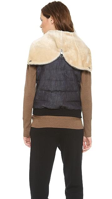 Sea Denim & Shearling Hooded Vest