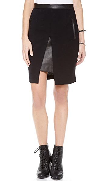 Sea Crepe & Leather Split Skirt
