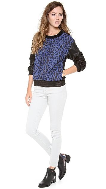 Sea Leopard Leather Sweatshirt