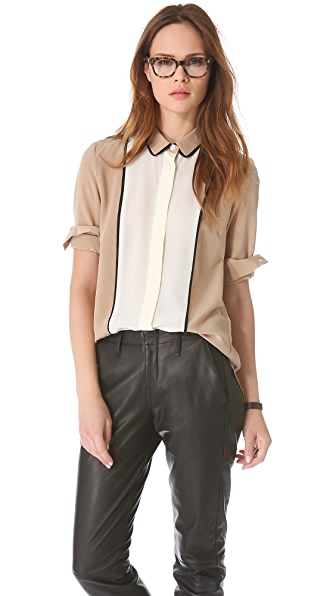 Sea Combo Silk Button Down Top