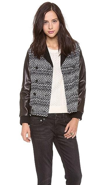Sea Leather Combo Wrap Coat