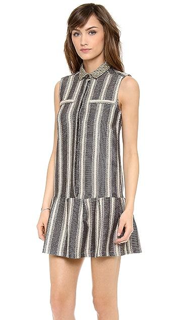 Sea Sleeveless Ruffle Button Up Dress