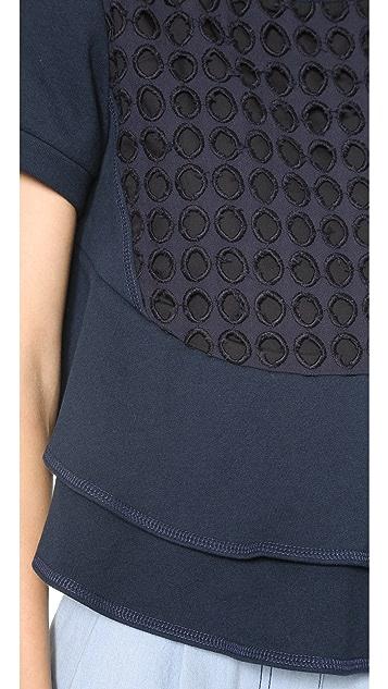 Sea Short Sleeve Ruffle Sweatshirt