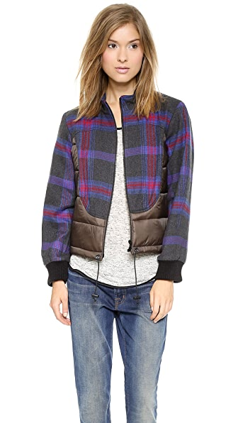 Sea Plaid Puffer Jacket