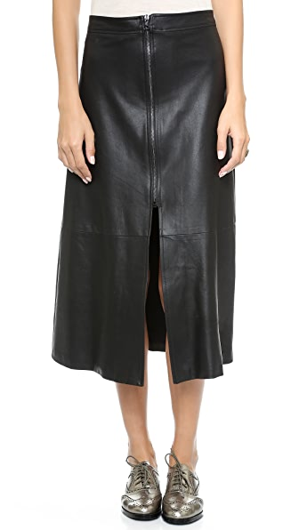 Sea Zip Leather Midi Skirt