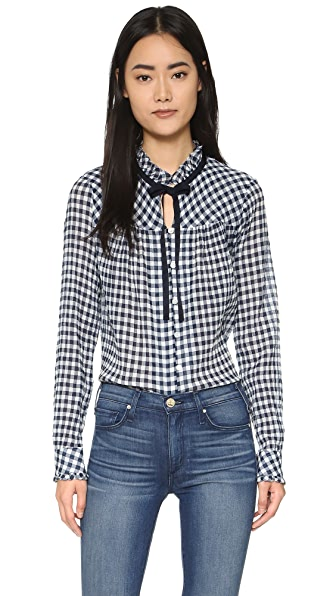 Sea Gingham Long Sleeve Top