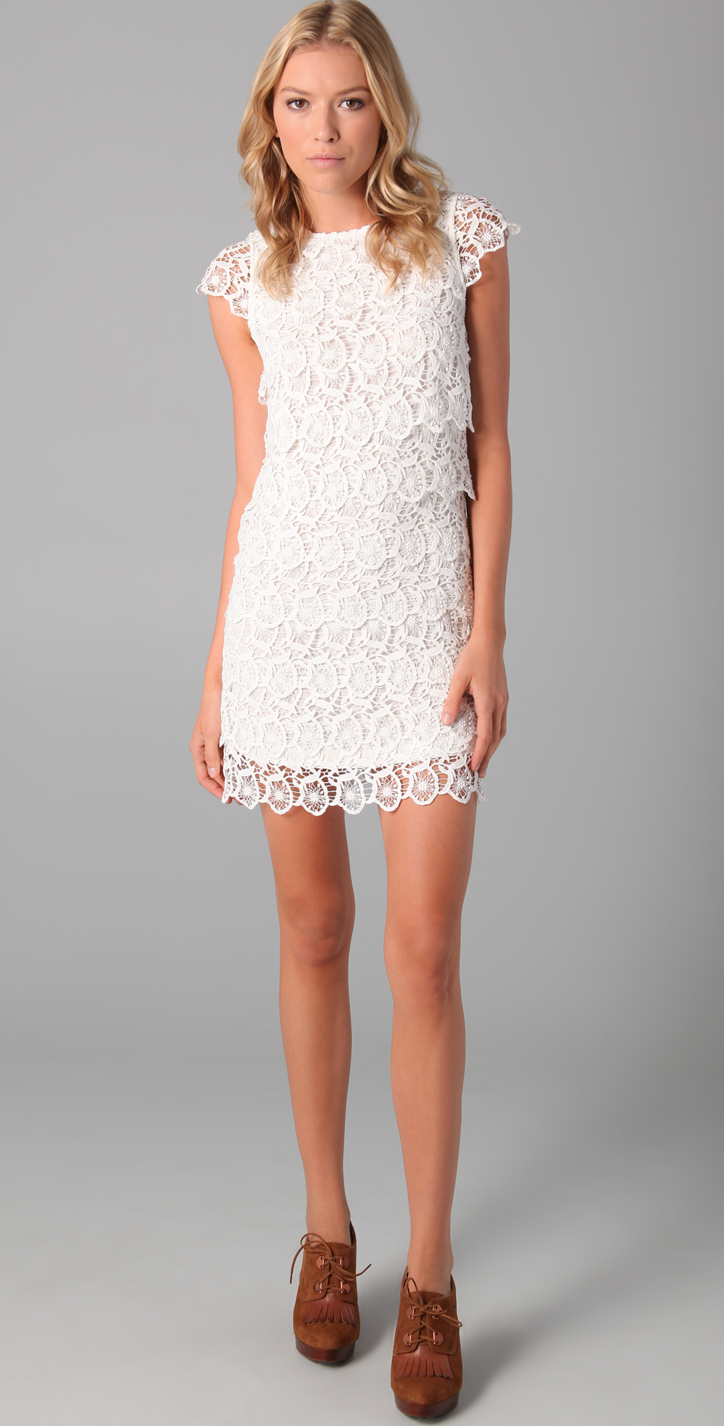 d5e9c14931 See by Chloe Short Sleeve Lace Tiered Dress