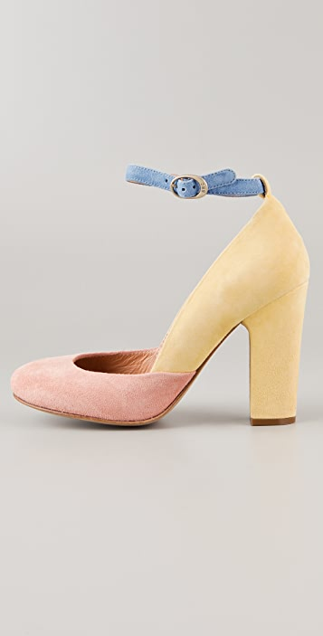See by Chloe Round Toe Suede Pumps with Ankle Strap