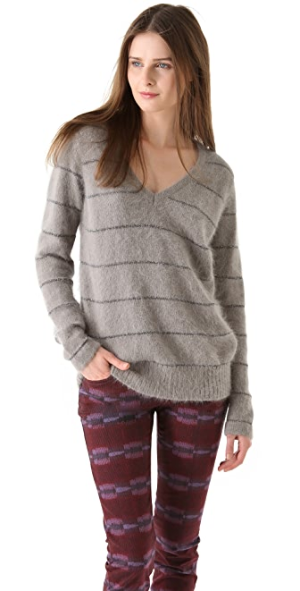 See by Chloe Stripe V Neck Sweater