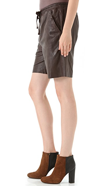 See by Chloe Drawstring Leather Shorts