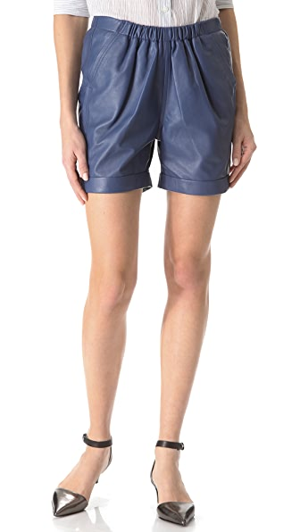 See by Chloe Washed Leather Shorts