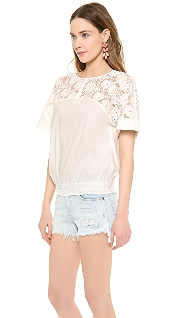 See by Chloe Floral Top with Gathered Waist