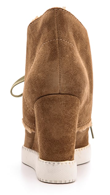 See by Chloe Lea Sherpa Wedge Booties