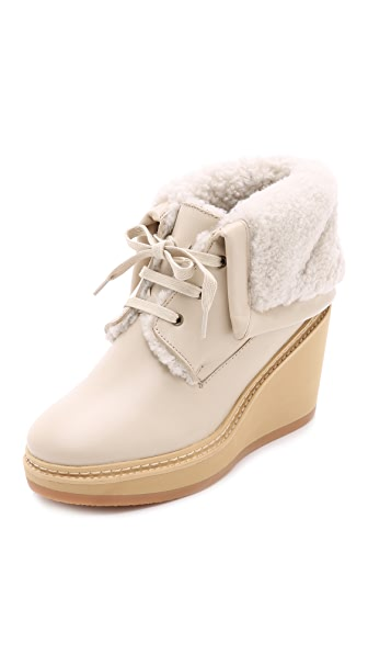See by Chloe Shearling Wedge Booties