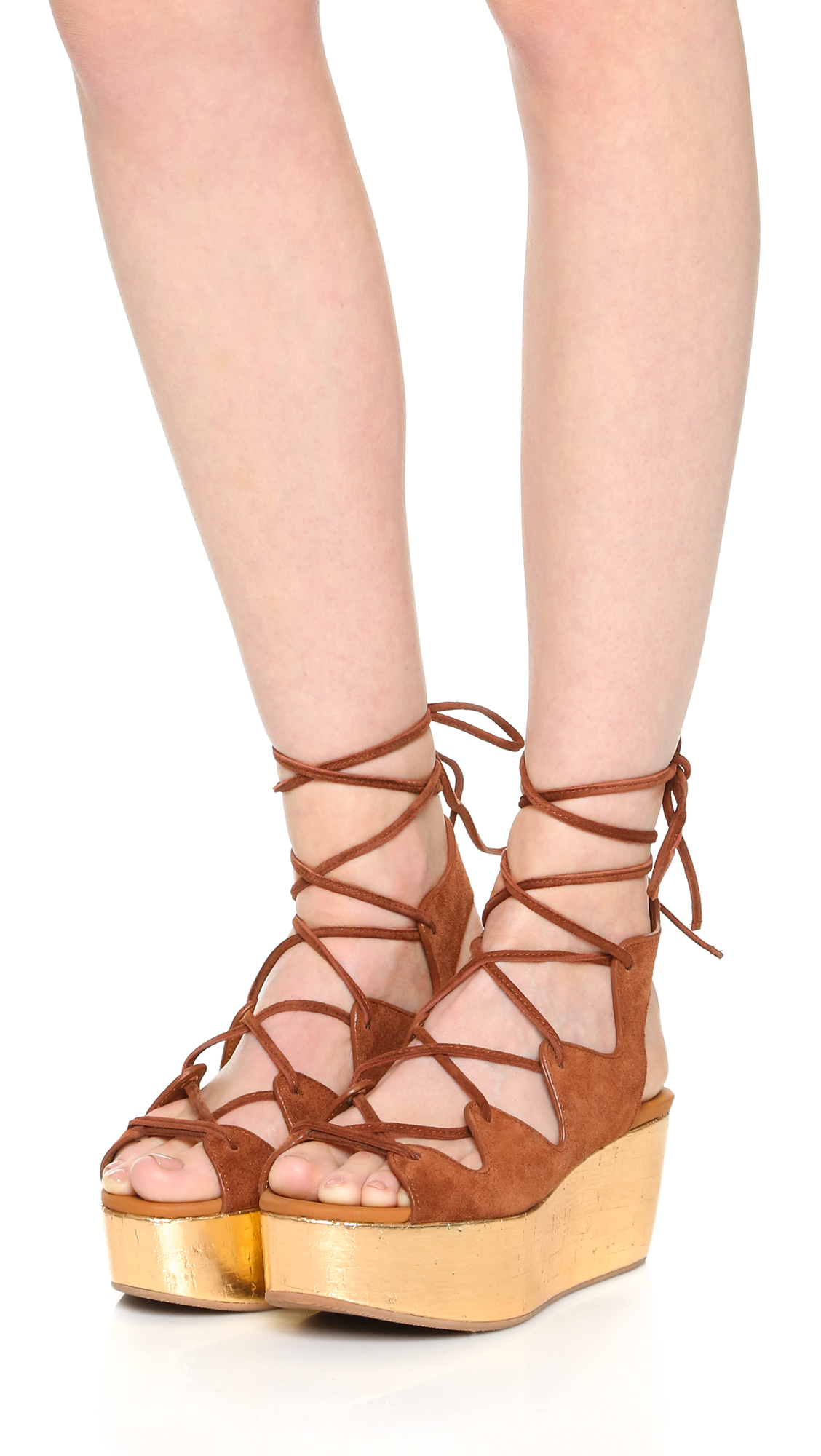 Chloé See By Chlo?? Lace Detail Platform Sandals Best Place QYwdFp