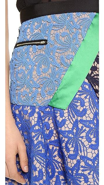 Self Portrait Lace Illusion Flare Dress