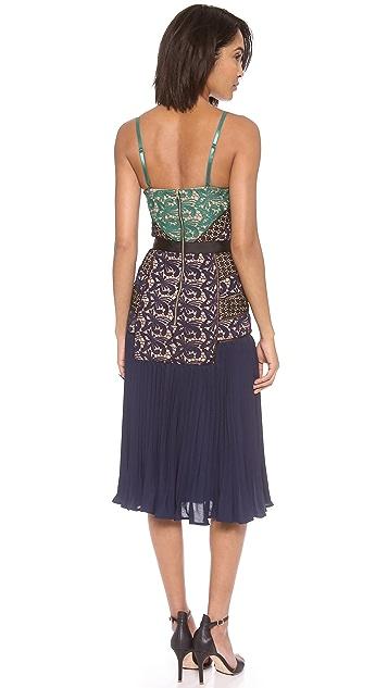 Self Portrait Paneled Pleated Midi Dress