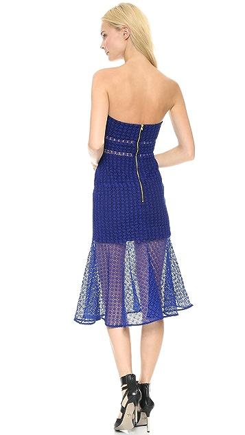 Self Portrait Fluted Strapless Lace Dress