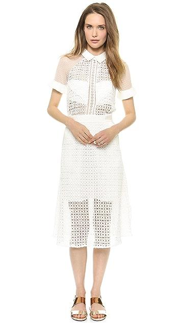 Self Portrait Pattern Play Lace Midi Dress
