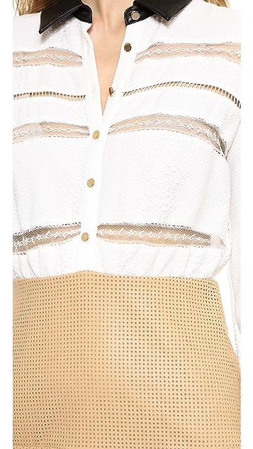 Self Portrait Lace Trimmed Shirtdress