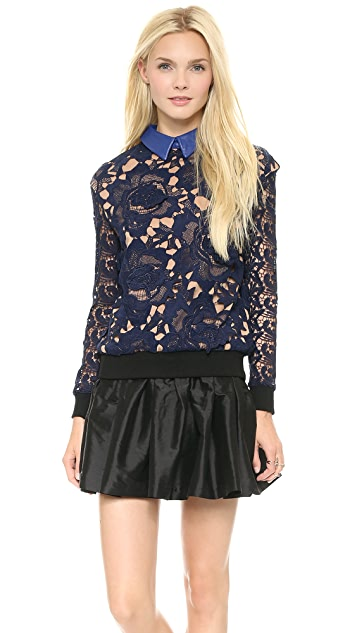 Self Portrait Textured Lace Sweatshirt Top