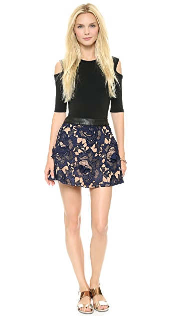 Self Portrait Textured Lace Skirt