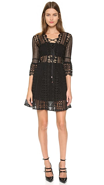 Self Portrait A Line Lace Up Dress