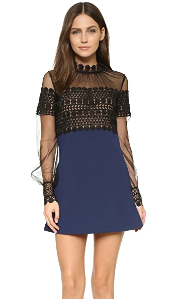 Self Portrait Balloon Sleeve Shift Dress - Black/Navy