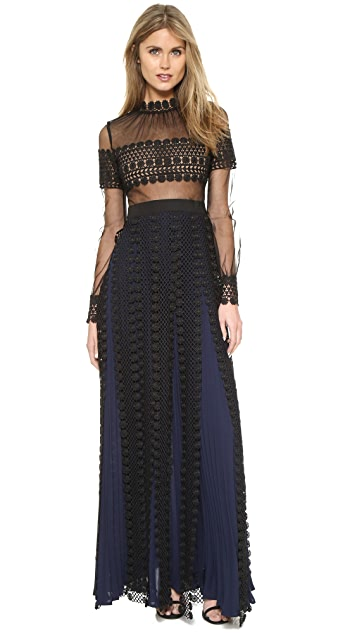 Self Portrait Balloon Sleeve Lace Panel Gown