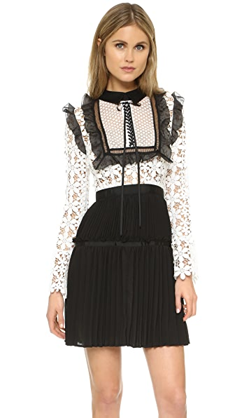 Self Portrait Adeline Lace Dress - Black/White
