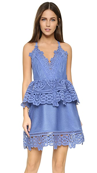 Self Portrait Lace Trim Peplum Dress