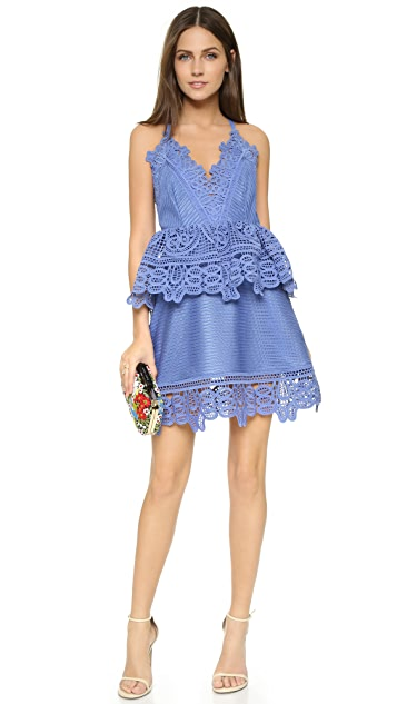 Self Portrait Lace Trim Peplum Dress