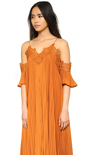 Self Portrait Pleated Cold Shoulder Gown