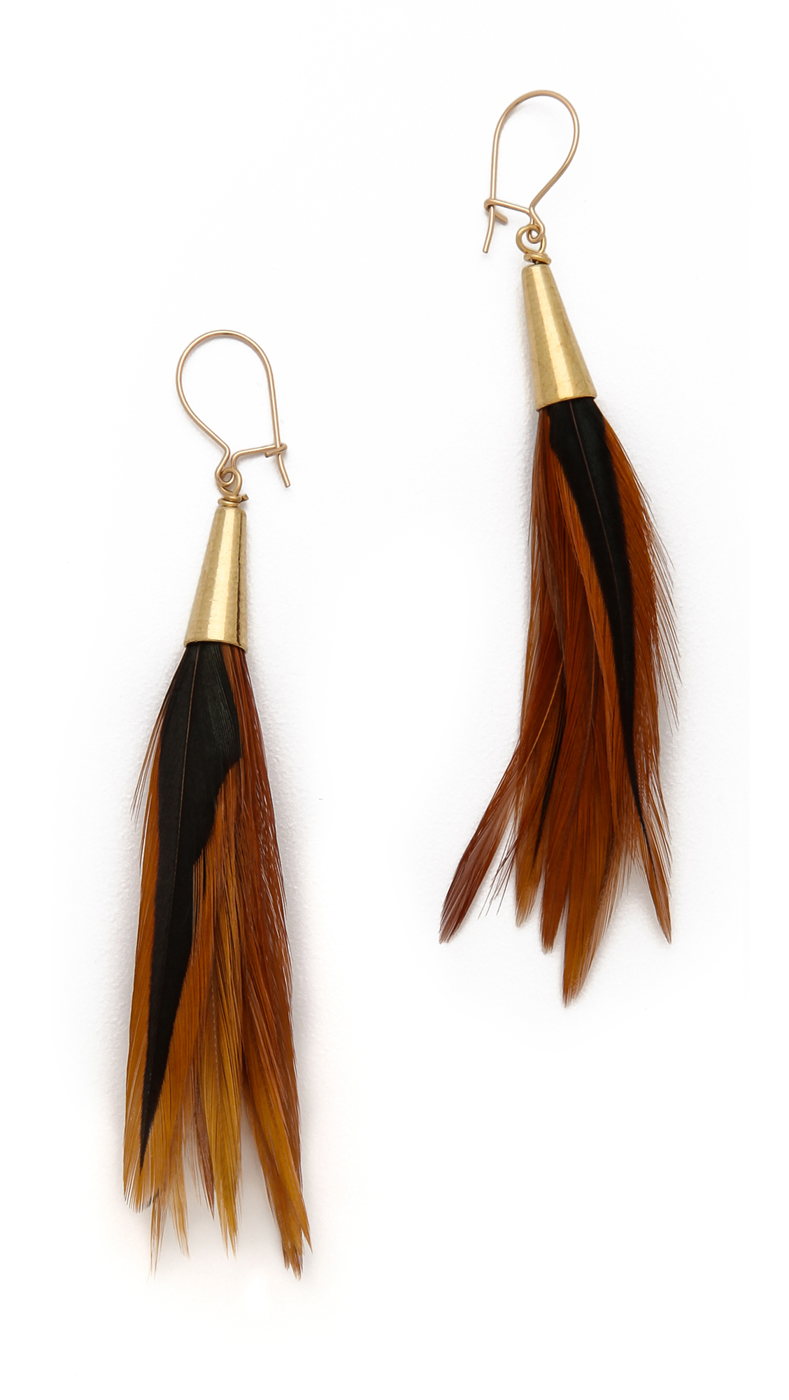 funky feathered earrings product little feather peacock peach