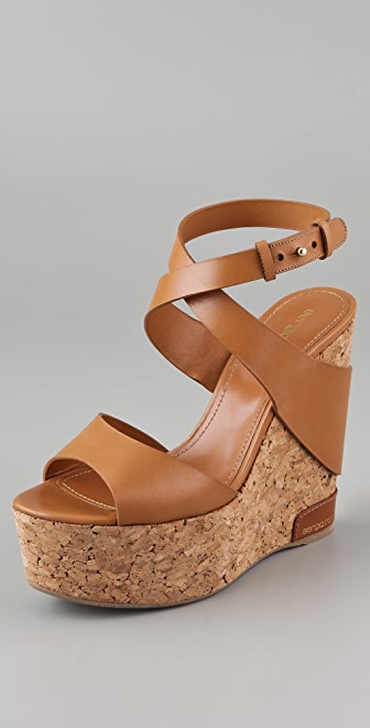 Sergio Rossi Cork Wedge Sandals