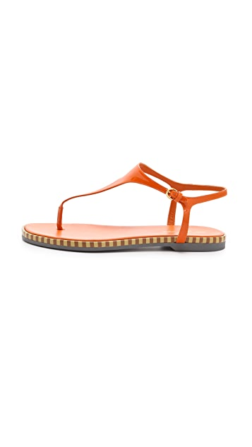 Sergio Rossi Stripe Sole Patent Sandals