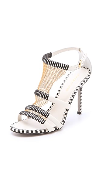 Sergio Rossi Leather Chain Sandals