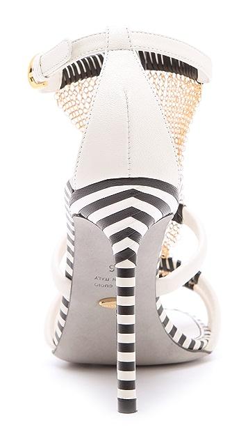Sergio Rossi Leather Chain Sandals