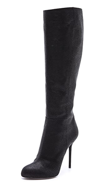 Sergio Rossi Embossed Suede Heeled Boots