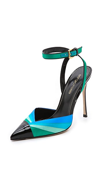 Sergio Rossi Satin & Patent Pointed Pumps