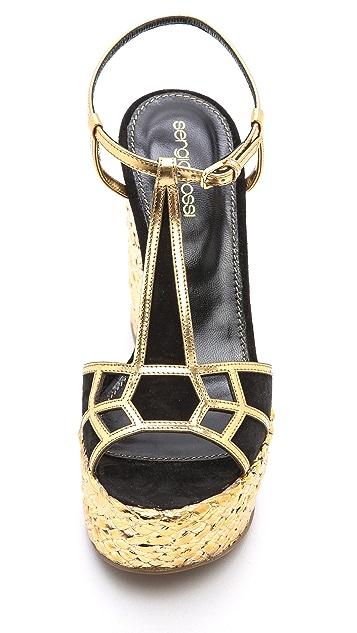 Sergio Rossi Easy Puzzle Wedge Sandals